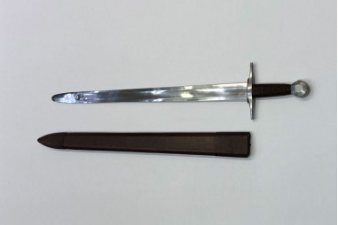 Medieval sword forged by hand in carbon steel